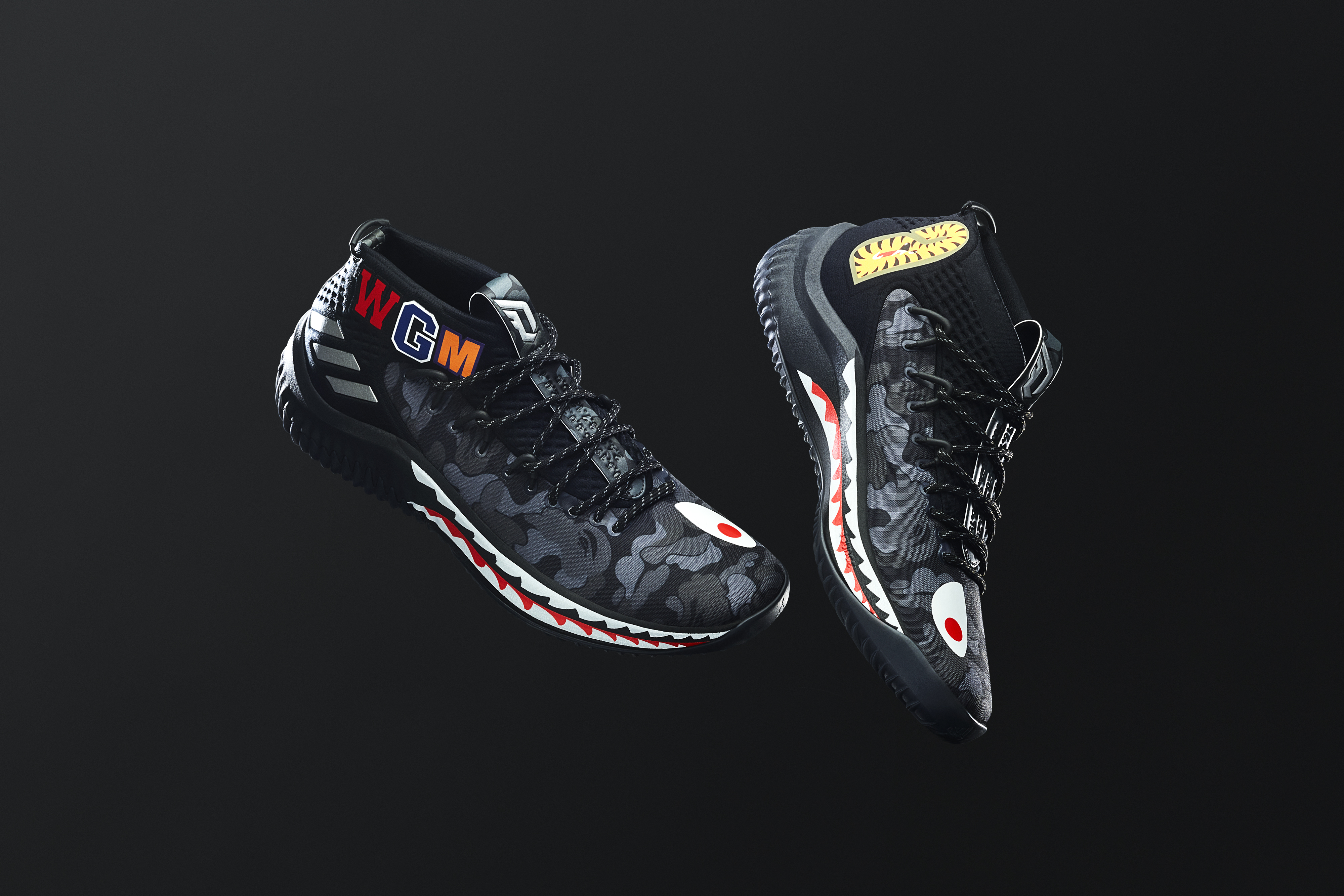 new product ff0dc 21530 BAPEs iconic camo runs across the upper on all three green, black, and red  designs, with shark teeth dotted across the soles. BAPEs WGMs are stamped  on ...